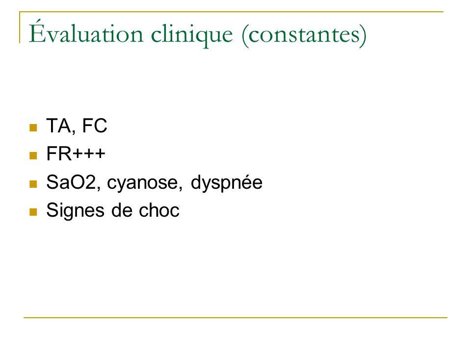 Évaluation clinique (constantes)  TA, FC  FR+++  SaO2, cyanose, dyspnée  Signes de choc