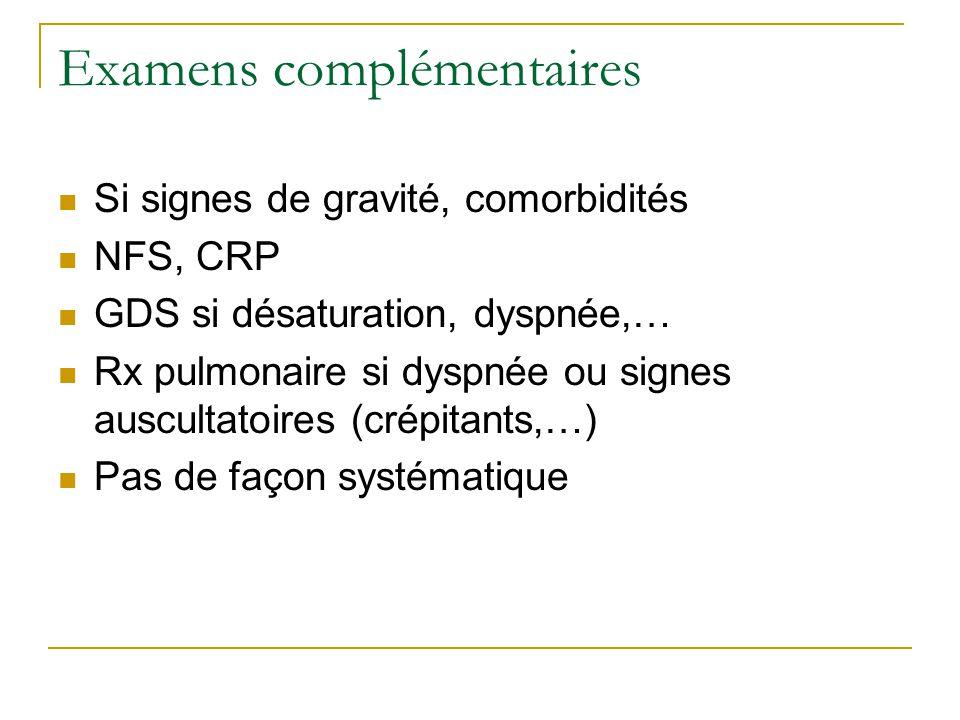 Examens complémentaires  Si signes de gravité, comorbidités  NFS, CRP  GDS si désaturation, dyspnée,…  Rx pulmonaire si dyspnée ou signes auscultatoires (crépitants,…)  Pas de façon systématique