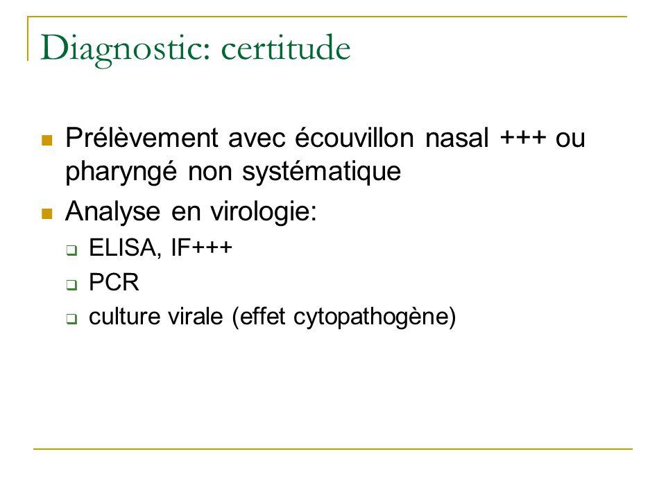 Diagnostic: certitude  Prélèvement avec écouvillon nasal +++ ou pharyngé non systématique  Analyse en virologie:  ELISA, IF+++  PCR  culture virale (effet cytopathogène)
