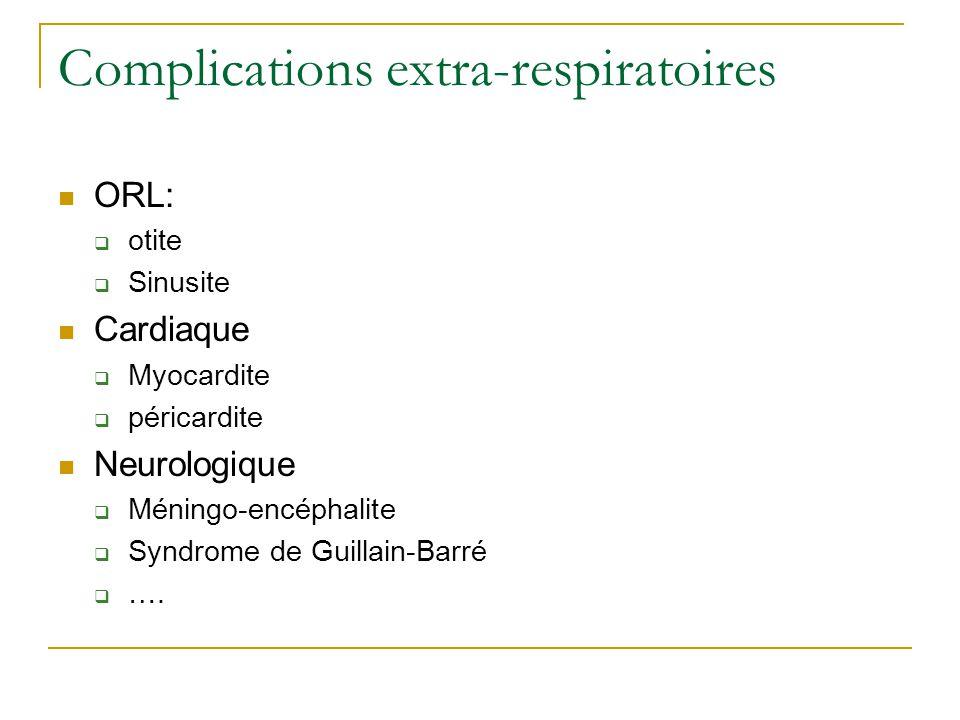 Complications extra-respiratoires  ORL:  otite  Sinusite  Cardiaque  Myocardite  péricardite  Neurologique  Méningo-encéphalite  Syndrome de Guillain-Barré  ….