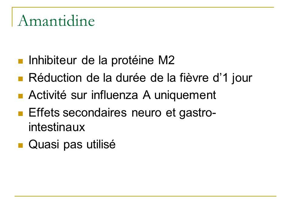 Amantidine  Inhibiteur de la protéine M2  Réduction de la durée de la fièvre d'1 jour  Activité sur influenza A uniquement  Effets secondaires neuro et gastro- intestinaux  Quasi pas utilisé