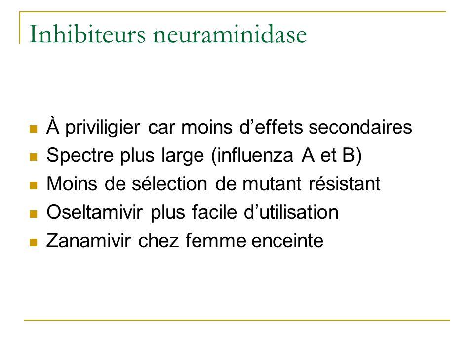 Inhibiteurs neuraminidase  À priviligier car moins d'effets secondaires  Spectre plus large (influenza A et B)  Moins de sélection de mutant résistant  Oseltamivir plus facile d'utilisation  Zanamivir chez femme enceinte