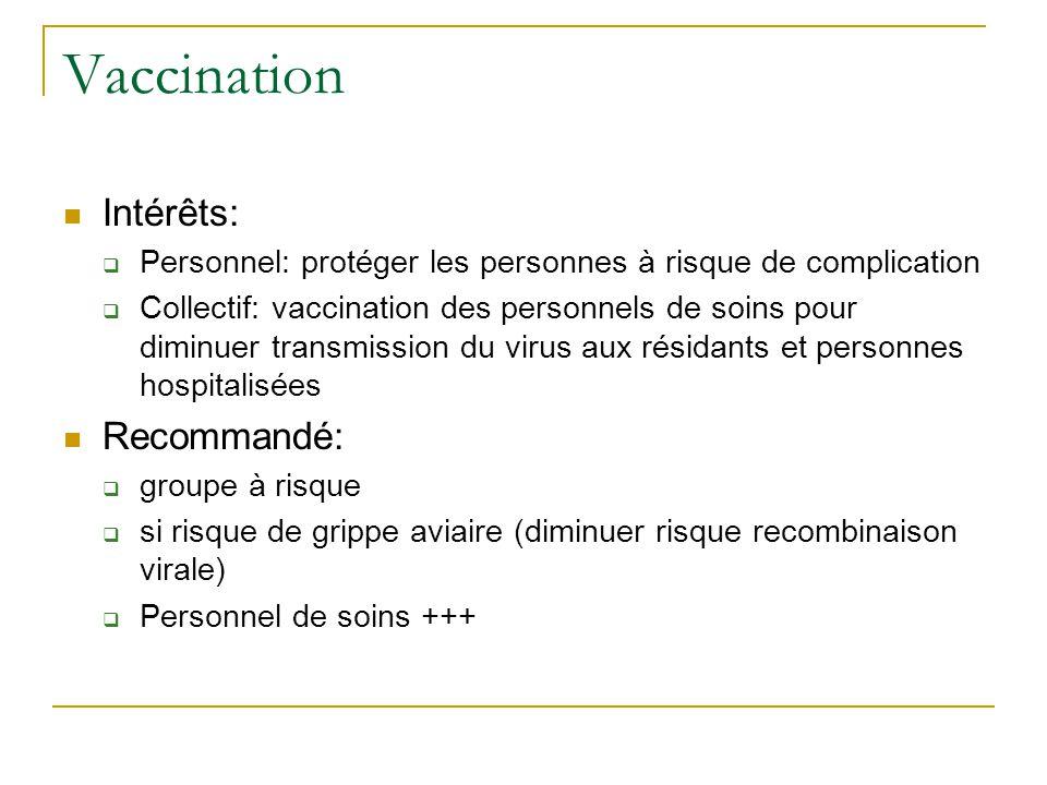 Vaccination  Intérêts:  Personnel: protéger les personnes à risque de complication  Collectif: vaccination des personnels de soins pour diminuer transmission du virus aux résidants et personnes hospitalisées  Recommandé:  groupe à risque  si risque de grippe aviaire (diminuer risque recombinaison virale)  Personnel de soins +++