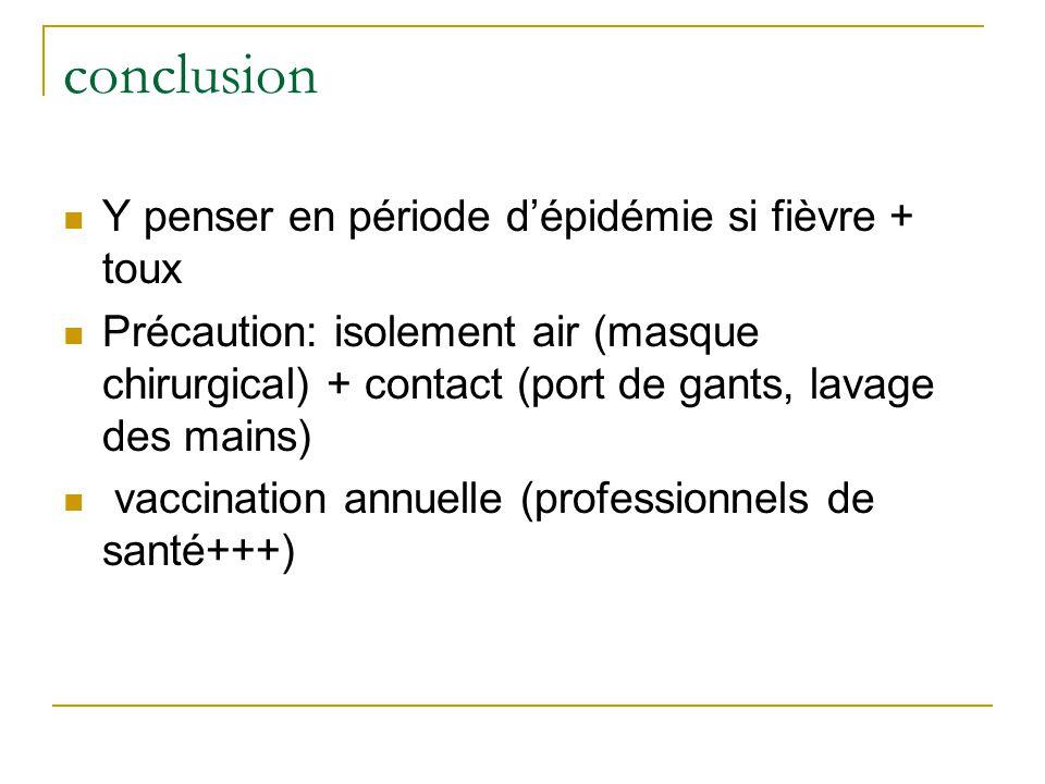 conclusion  Y penser en période d'épidémie si fièvre + toux  Précaution: isolement air (masque chirurgical) + contact (port de gants, lavage des mains)  vaccination annuelle (professionnels de santé+++)