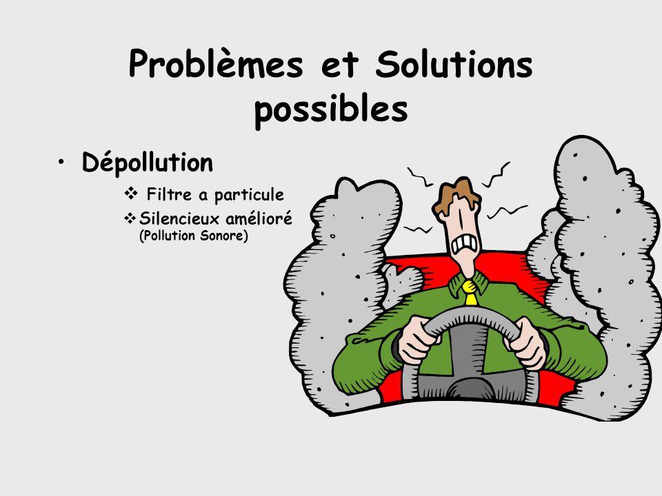 Problèmes et Solutions possibles •Dépollution  Filtre a particule  Silencieux amélioré (Pollution Sonore)