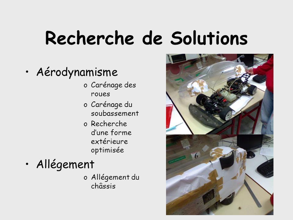 Recherche de Solutions •Aérodynamisme oCarénage des roues oCarénage du soubassement oRecherche d'une forme extérieure optimisée •Allégement oAllégement du châssis