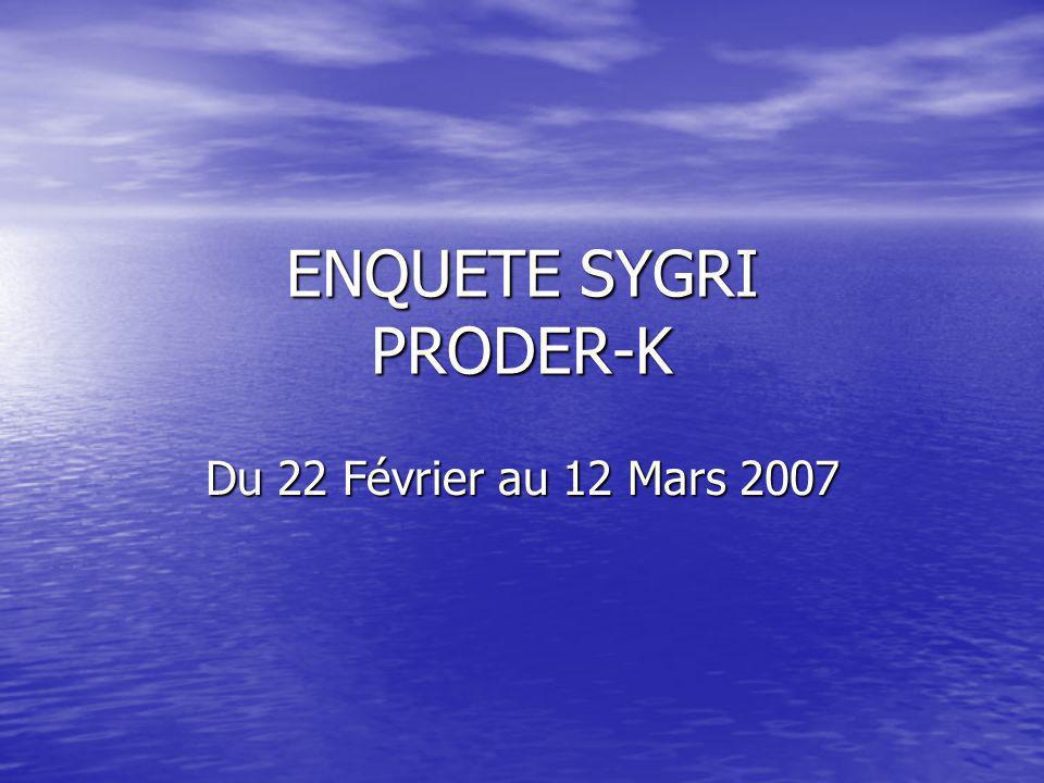 ENQUETE SYGRI PRODER-K Du 22 Février au 12 Mars 2007