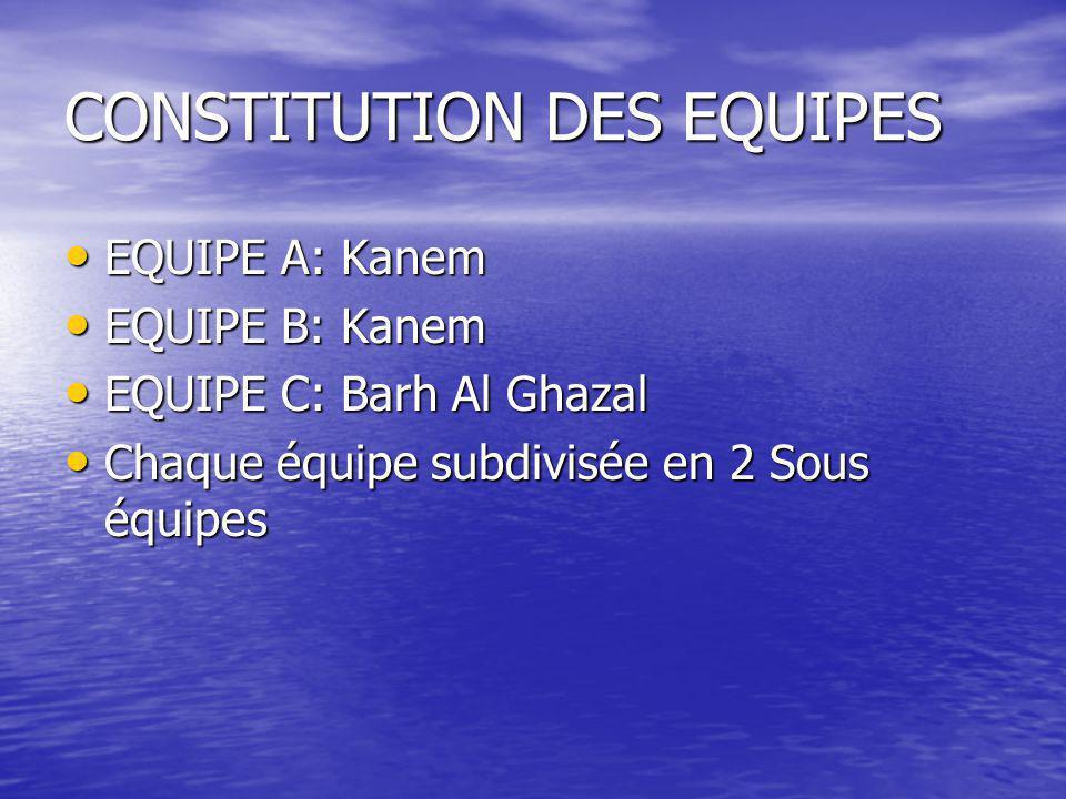 CONSTITUTION DES EQUIPES • EQUIPE A: Kanem • EQUIPE B: Kanem • EQUIPE C: Barh Al Ghazal • Chaque équipe subdivisée en 2 Sous équipes