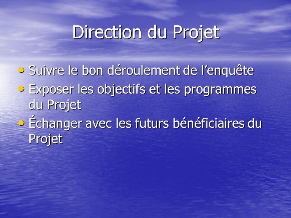 Direction du Projet • Suivre le bon déroulement de l'enquête • Exposer les objectifs et les programmes du Projet • Échanger avec les futurs bénéficiaires du Projet