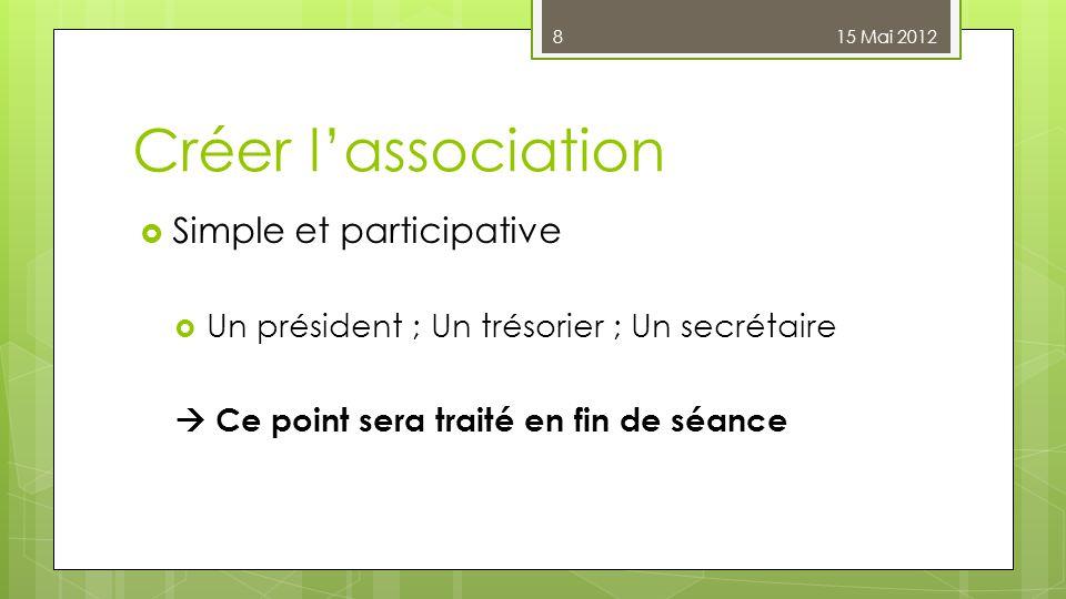 Créer l'association  Simple et participative  Un président ; Un trésorier ; Un secrétaire  Ce point sera traité en fin de séance 15 Mai 20128