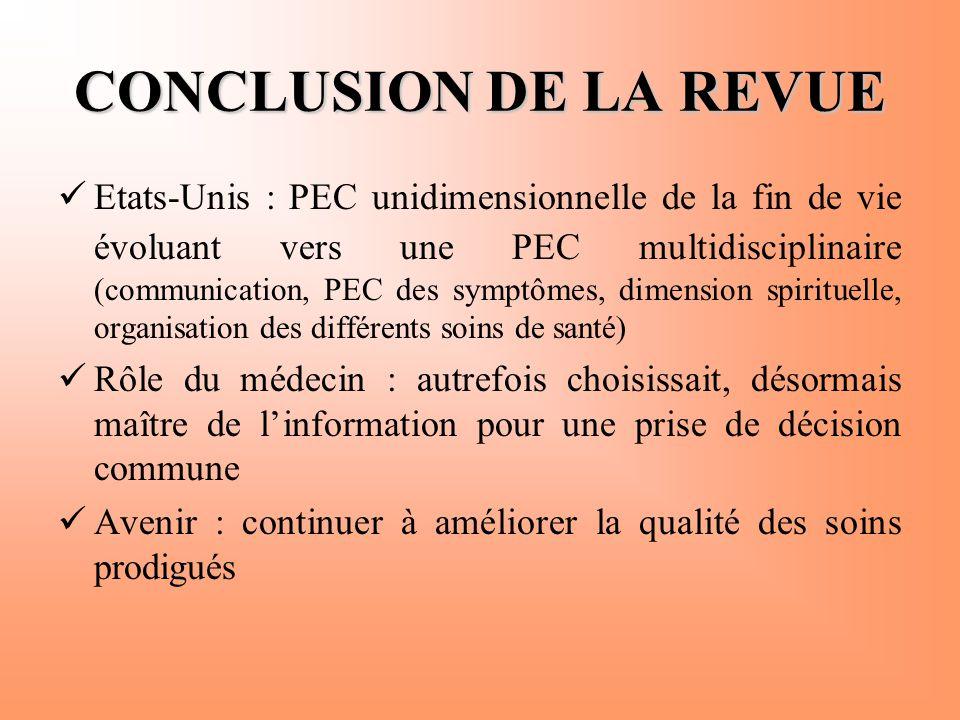 CONCLUSION DE LA REVUE  Etats-Unis : PEC unidimensionnelle de la fin de vie évoluant vers une PEC multidisciplinaire (communication, PEC des symptôme