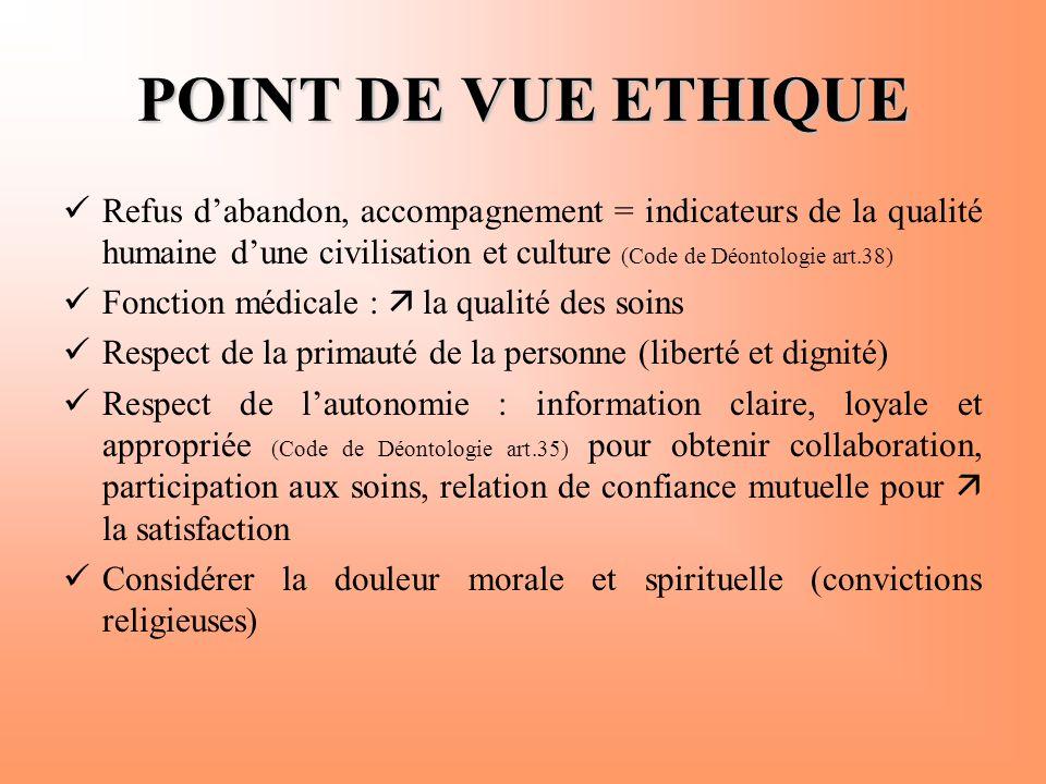 POINT DE VUE ETHIQUE  Refus d'abandon, accompagnement = indicateurs de la qualité humaine d'une civilisation et culture (Code de Déontologie art.38)