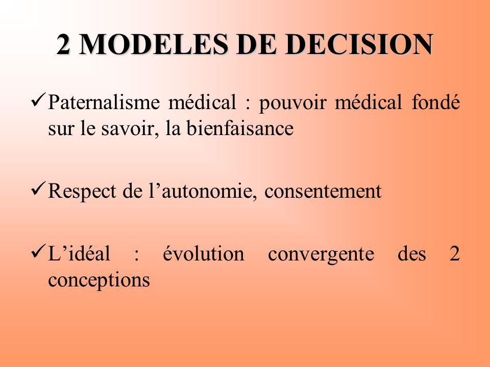 2 MODELES DE DECISION  Paternalisme médical : pouvoir médical fondé sur le savoir, la bienfaisance  Respect de l'autonomie, consentement  L'idéal :
