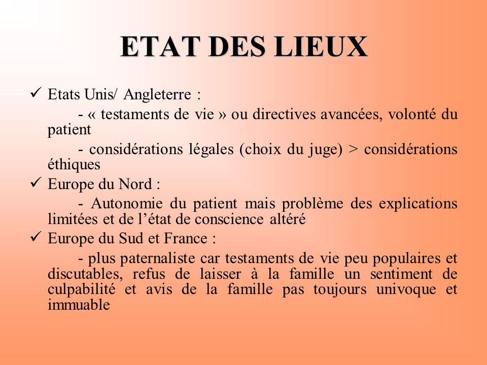 ETAT DES LIEUX  Etats Unis/ Angleterre : - « testaments de vie » ou directives avancées, volonté du patient - considérations légales (choix du juge)