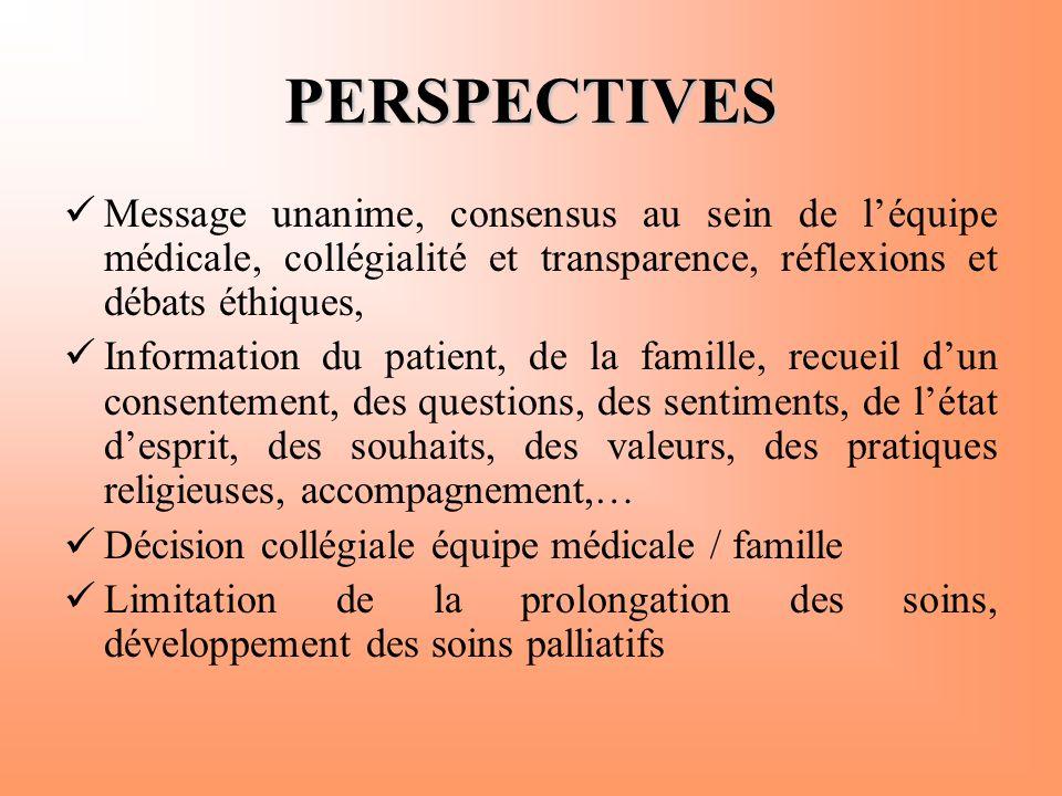 PERSPECTIVES  Message unanime, consensus au sein de l'équipe médicale, collégialité et transparence, réflexions et débats éthiques,  Information du