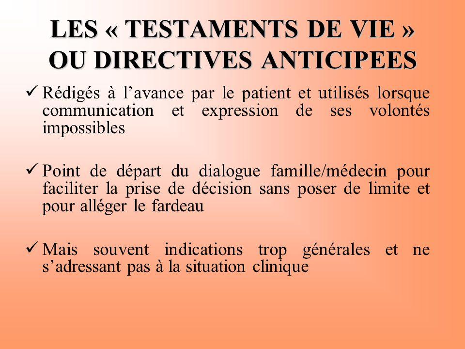 LES « TESTAMENTS DE VIE » OU DIRECTIVES ANTICIPEES  Rédigés à l'avance par le patient et utilisés lorsque communication et expression de ses volontés