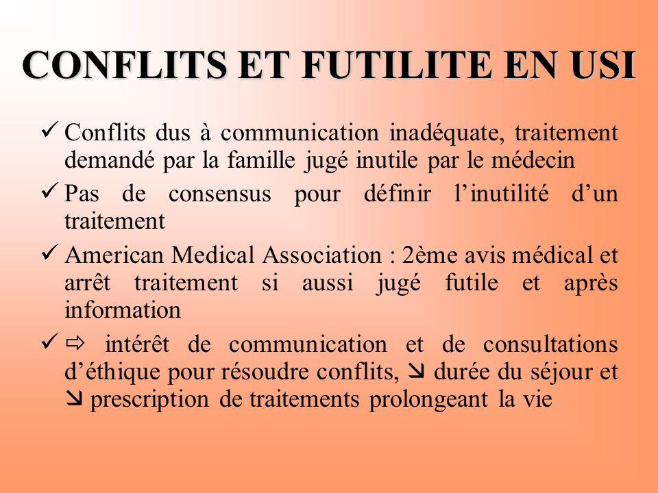 CONFLITS ET FUTILITE EN USI  Conflits dus à communication inadéquate, traitement demandé par la famille jugé inutile par le médecin  Pas de consensu
