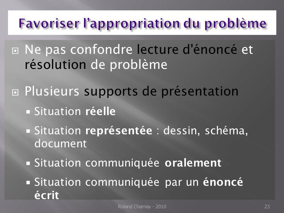  Ne pas confondre lecture d'énoncé et résolution de problème  Plusieurs supports de présentation  Situation réelle  Situation représentée : dessin