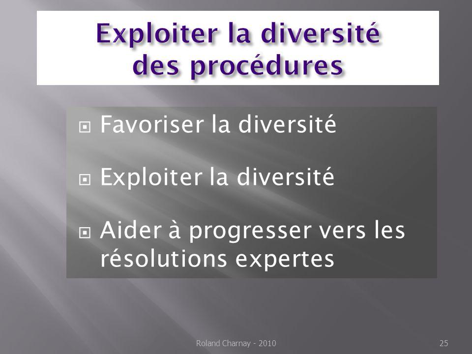  Favoriser la diversité  Exploiter la diversité  Aider à progresser vers les résolutions expertes Roland Charnay - 2010 25