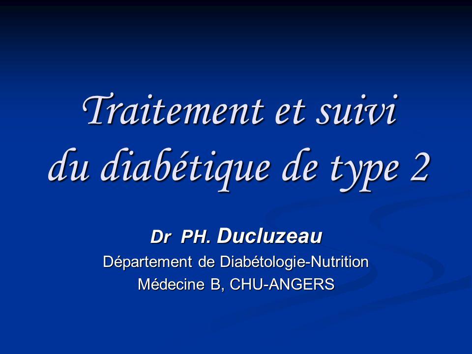 Traitement et suivi du diabétique de type 2 Dr PH. Ducluzeau Département de Diabétologie-Nutrition Médecine B, CHU-ANGERS