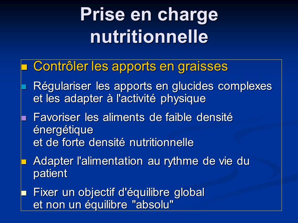  Contrôler les apports en graisses  Régulariser les apports en glucides complexes et les adapter à l'activité physique  Favoriser les aliments de f