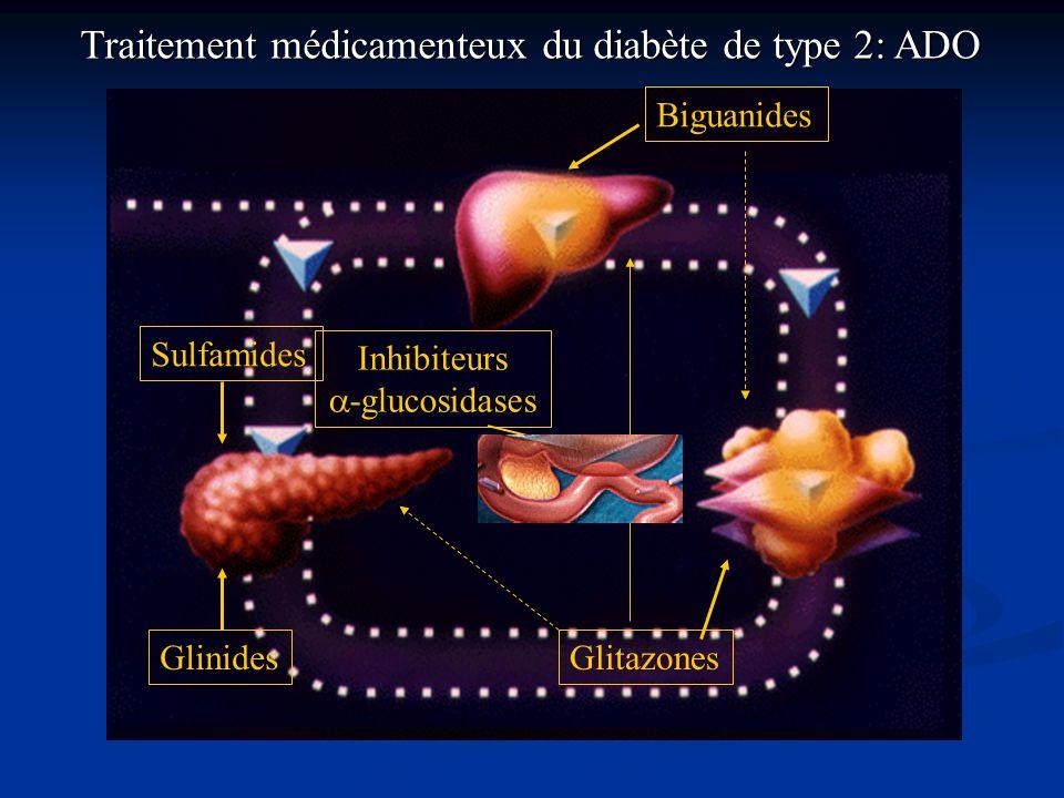 BiguanidesSulfamides Glinides Glitazones Inhibiteurs  -glucosidases Traitement médicamenteux du diabète de type 2: ADO