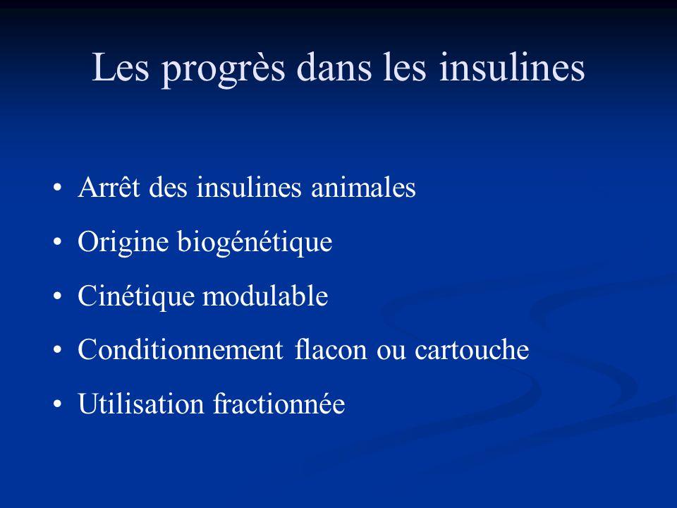 Les progrès dans les insulines •Arrêt des insulines animales •Origine biogénétique •Cinétique modulable •Conditionnement flacon ou cartouche •Utilisat