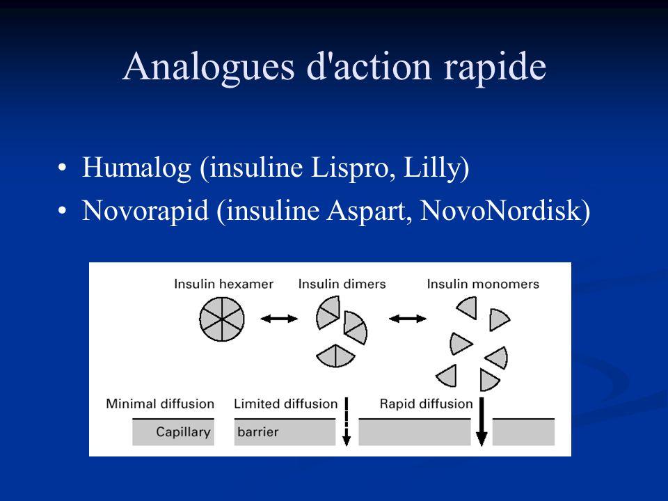 Analogues d'action rapide •Humalog (insuline Lispro, Lilly) •Novorapid (insuline Aspart, NovoNordisk)