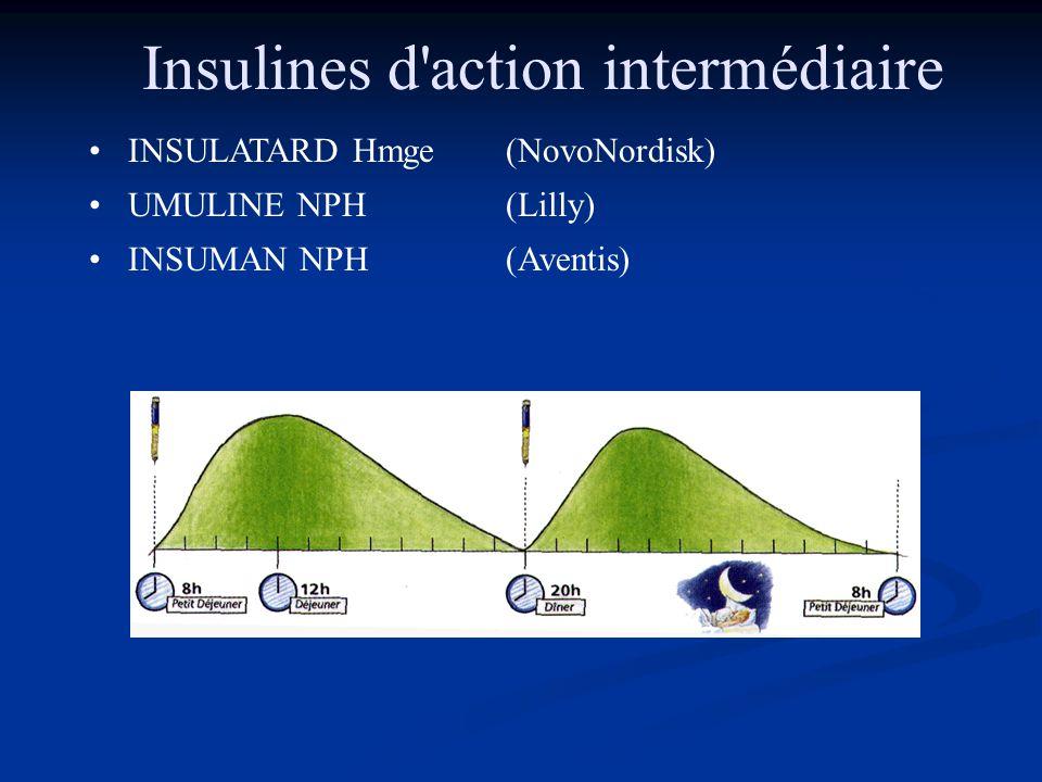 Insulines d'action intermédiaire •INSULATARD Hmge(NovoNordisk) •UMULINE NPH(Lilly) •INSUMAN NPH(Aventis)