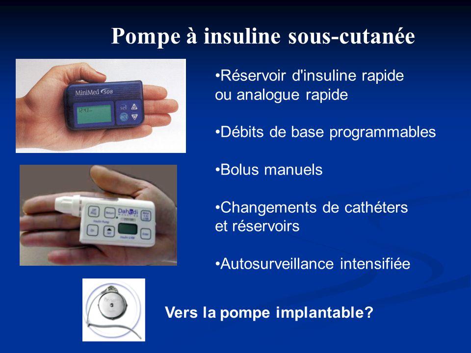 Pompe à insuline sous-cutanée •Réservoir d'insuline rapide ou analogue rapide •Débits de base programmables •Bolus manuels •Changements de cathéters e