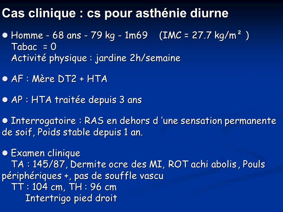 Cas clinique : cs pour asthénie diurne  Homme - 68 ans - 79 kg - 1m69 (IMC = 27.7 kg/m² ) Tabac = 0 Activité physique : jardine 2h/semaine  AF : Mèr