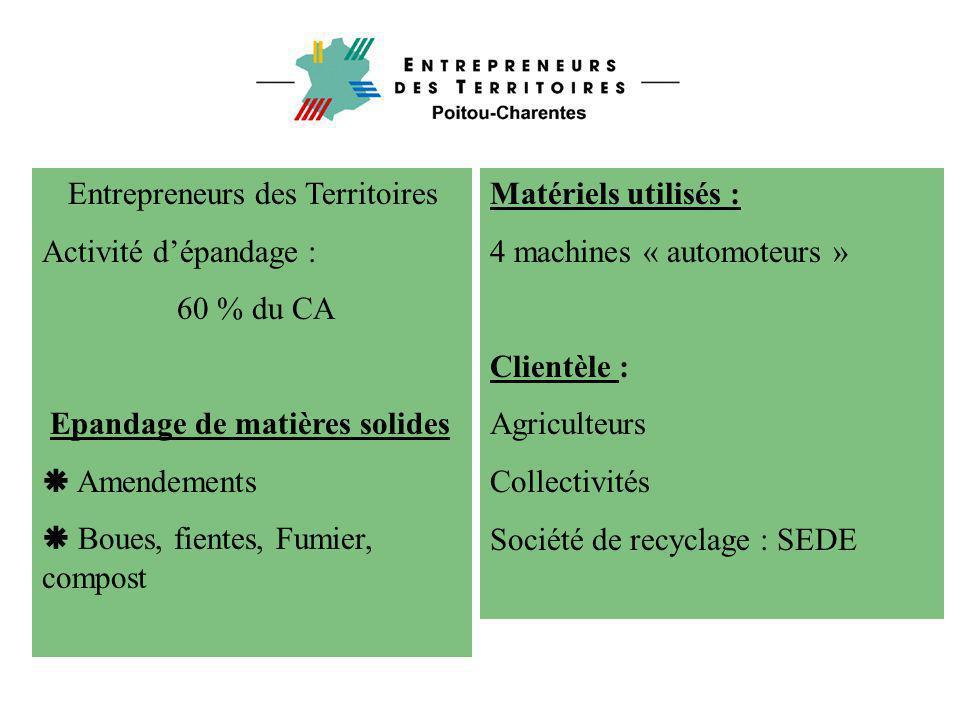 Entrepreneurs des Territoires Activité d'épandage : 60 % du CA Epandage de matières solides  Amendements  Boues, fientes, Fumier, compost Matériels