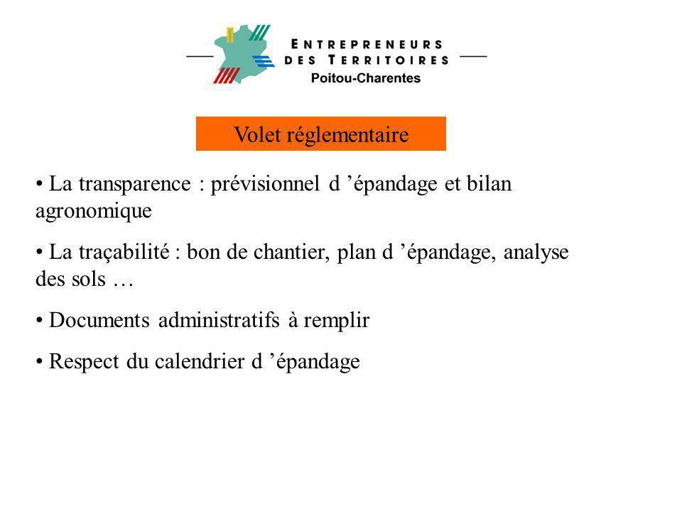 Volet réglementaire • La transparence : prévisionnel d 'épandage et bilan agronomique • La traçabilité : bon de chantier, plan d 'épandage, analyse de