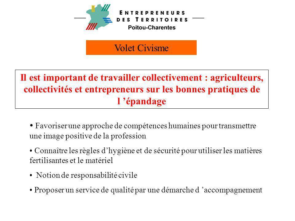 Volet Civisme • Favoriser une approche de compétences humaines pour transmettre une image positive de la profession • Connaître les règles d'hygiène e