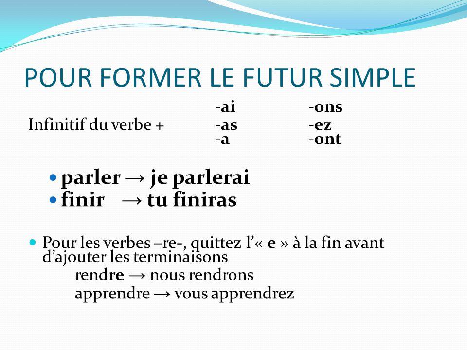 Le verbes irréguliers  Comme toujours…il y a des verbes irréguliers (oh, les langues étrangères sont merveilleuses – non??)  Leur racine est différente à leur infinitif- avoir → j'aurai être → nous serons  -mais les terminaisons sont les mêmes-