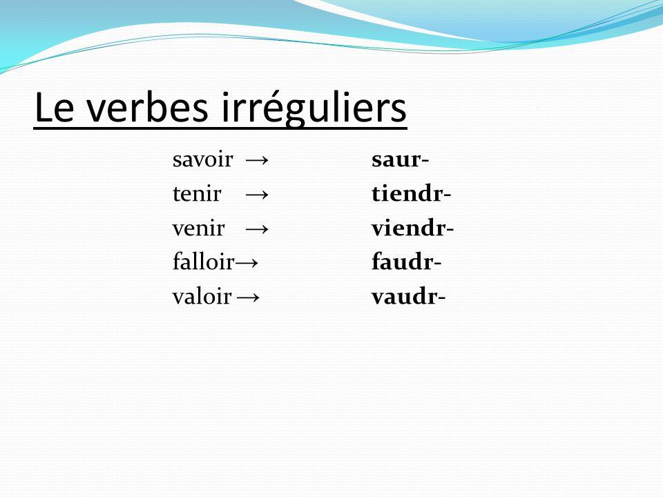 Le verbes irréguliers savoir → saur- tenir → tiendr- venir → viendr- falloir → faudr- valoir → vaudr-