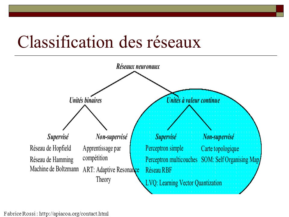 Classification des réseaux Fabrice Rossi : http://apiacoa.org/contact.html