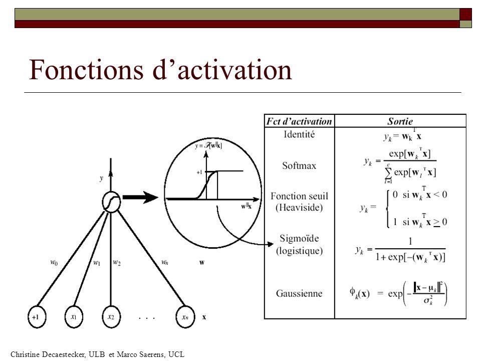 Fonctions d'activation Christine Decaestecker, ULB et Marco Saerens, UCL