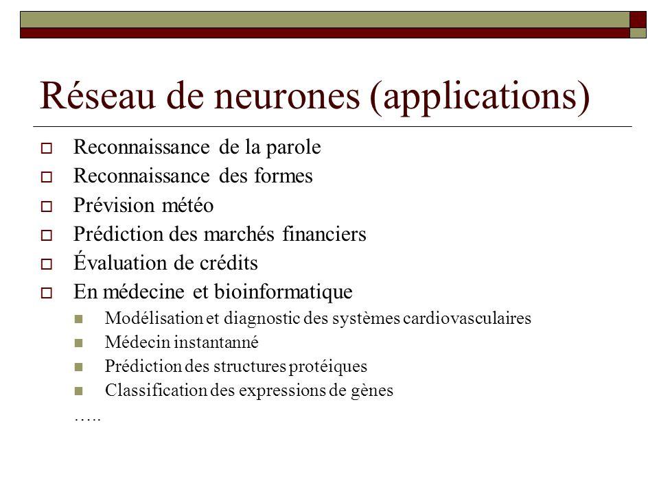 Réseau de neurones (applications)  Reconnaissance de la parole  Reconnaissance des formes  Prévision météo  Prédiction des marchés financiers  Év