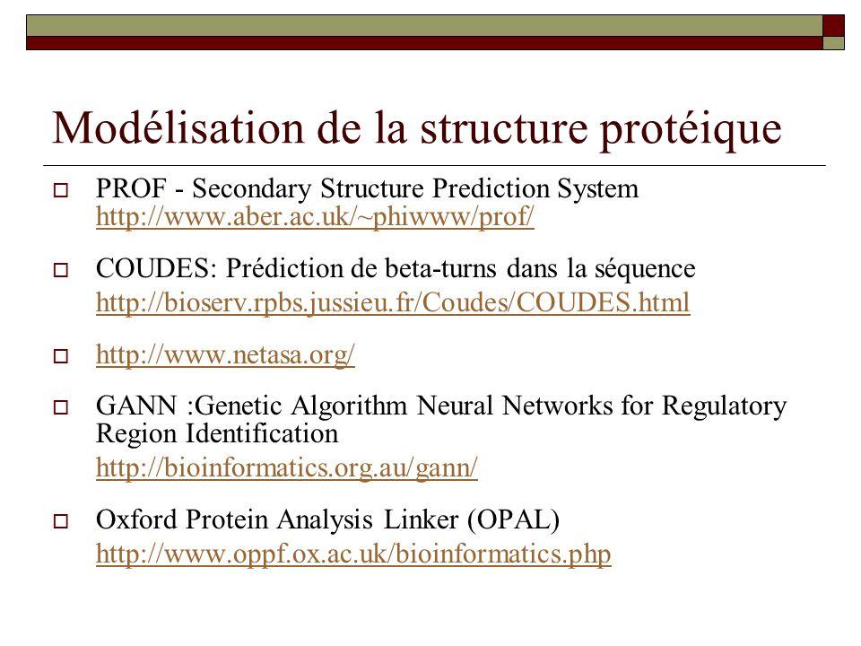 Modélisation de la structure protéique  PROF - Secondary Structure Prediction System http://www.aber.ac.uk/~phiwww/prof/ http://www.aber.ac.uk/~phiww
