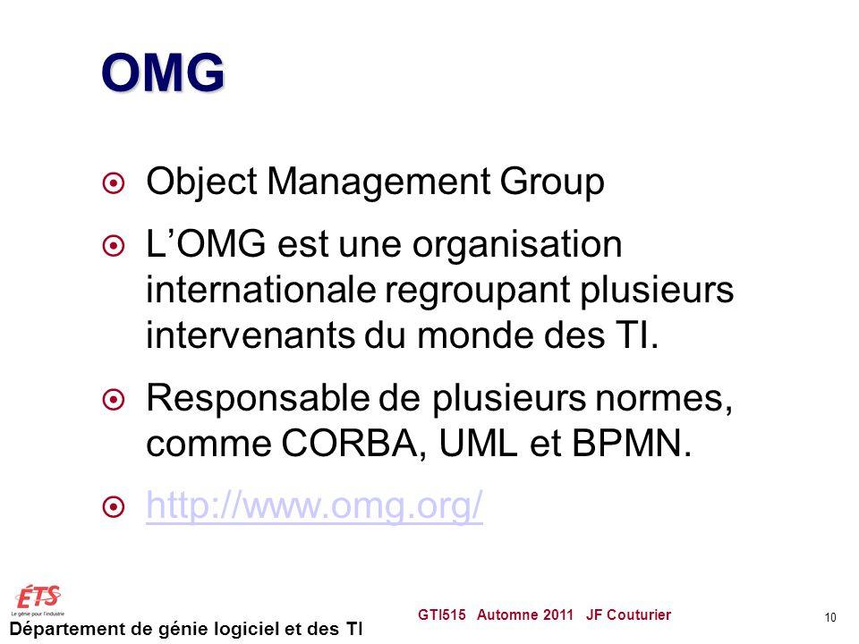 Département de génie logiciel et des TI OMG  Object Management Group  L'OMG est une organisation internationale regroupant plusieurs intervenants du
