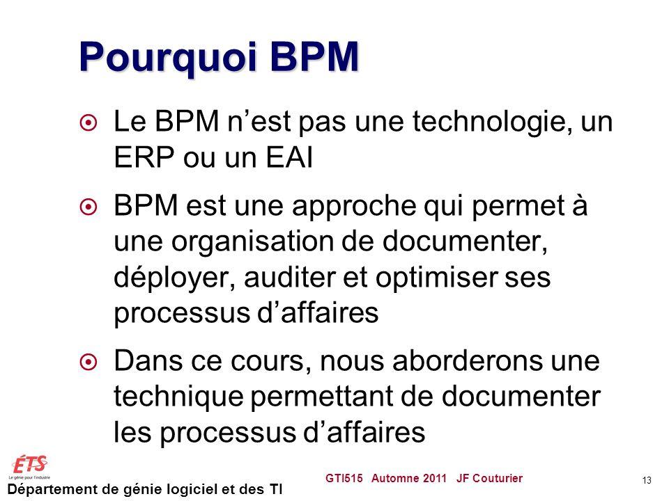 Département de génie logiciel et des TI Pourquoi BPM  Le BPM n'est pas une technologie, un ERP ou un EAI  BPM est une approche qui permet à une orga