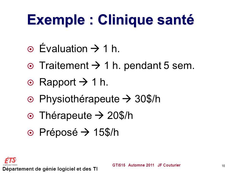 Département de génie logiciel et des TI Exemple : Clinique santé  Évaluation  1 h.  Traitement  1 h. pendant 5 sem.  Rapport  1 h.  Physiothéra