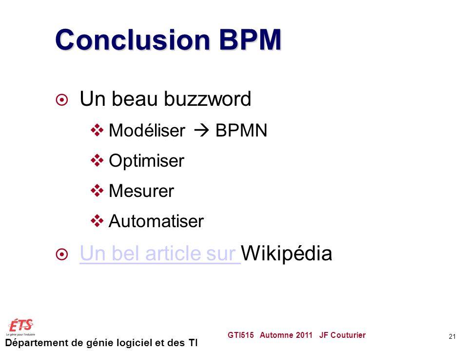 Département de génie logiciel et des TI Conclusion BPM  Un beau buzzword  Modéliser  BPMN  Optimiser  Mesurer  Automatiser  Un bel article sur