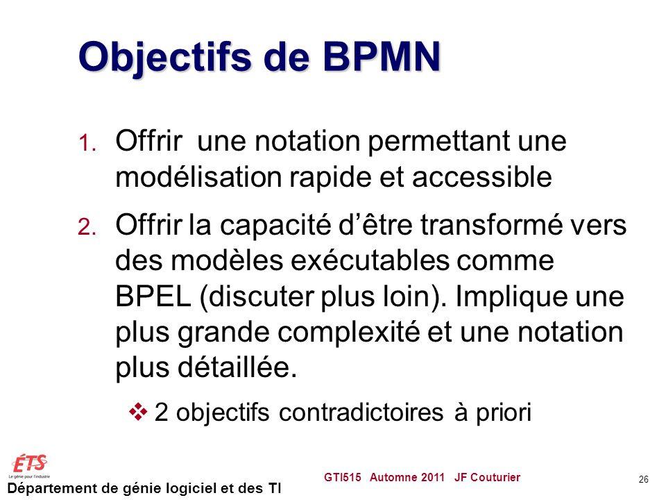 Département de génie logiciel et des TI Objectifs de BPMN 1. Offrir une notation permettant une modélisation rapide et accessible 2. Offrir la capacit