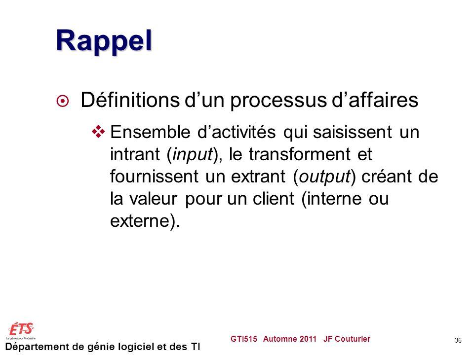Département de génie logiciel et des TI Rappel  Définitions d'un processus d'affaires  Ensemble d'activités qui saisissent un intrant (input), le tr
