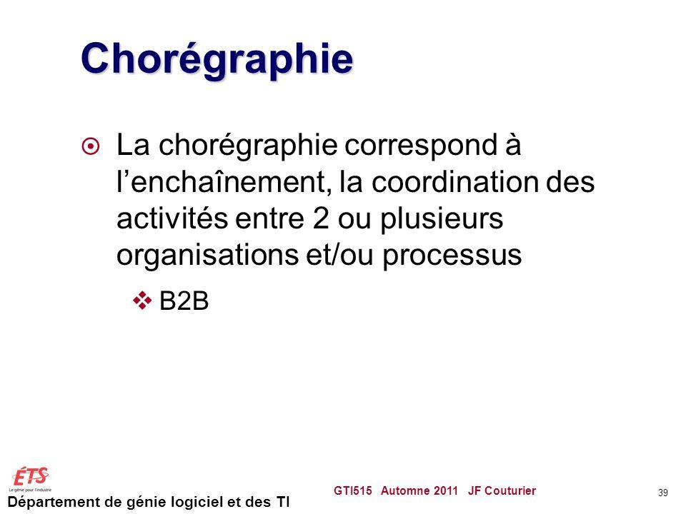 Département de génie logiciel et des TI Chorégraphie  La chorégraphie correspond à l'enchaînement, la coordination des activités entre 2 ou plusieurs