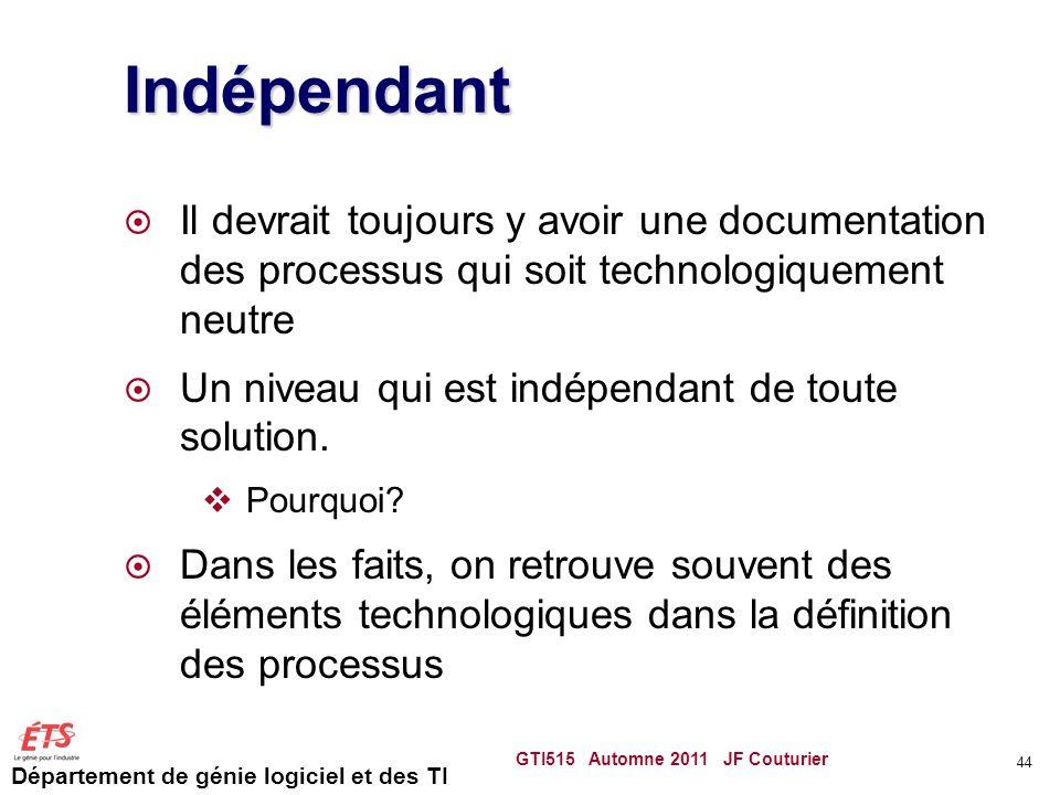 Département de génie logiciel et des TI Indépendant  Il devrait toujours y avoir une documentation des processus qui soit technologiquement neutre 