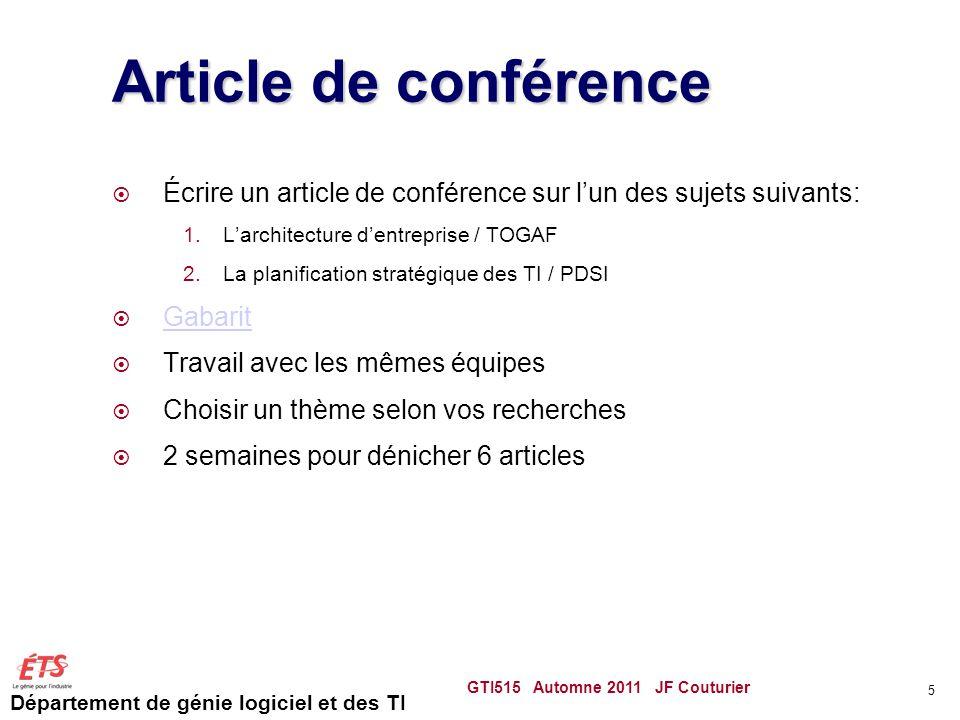 Département de génie logiciel et des TI Article de conférence  Écrire un article de conférence sur l'un des sujets suivants: 1.L'architecture d'entre