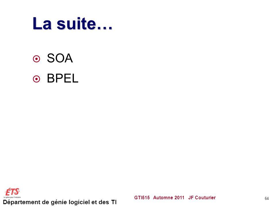 Département de génie logiciel et des TI La suite…  SOA  BPEL GTI515 Automne 2011 JF Couturier 64
